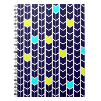 Arrow Pattern Navy Blue Yellow White Turquoise Spiral Notebook