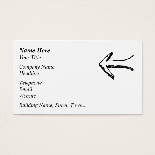 Arrow Pointing to the Left. Black. Business Card