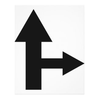 arrow straight and right icon flyer design