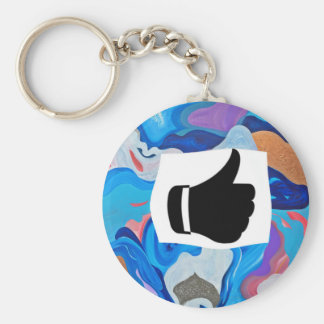 Arrow Thumbs Up Basic Round Button Key Ring