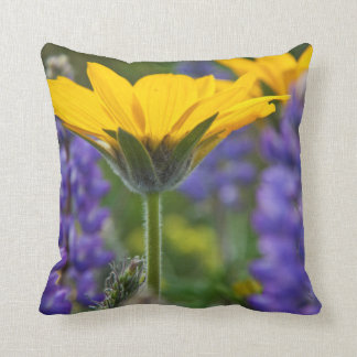 Arrowleaf Balsam Root and Lupine in Spring Bloom Throw Pillow