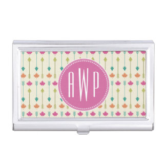 Arrows and Leaves Monogram Case For Business Cards
