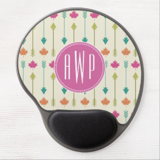 Arrows and Leaves Monogram Gel Mouse Pad
