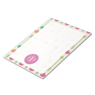 Arrows and Leaves Monogram Notepads