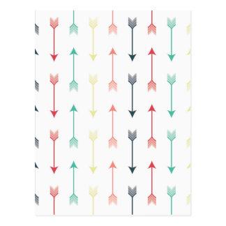 Arrows Colorful Fun Modern Pattern Postcard