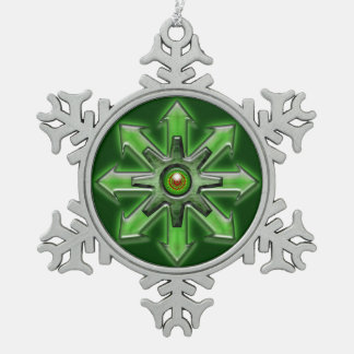 Arrows of Chaos – Green Pewter Snowflake Decoration