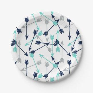 Arrows Scattered / Navy Mint Grey / Andrea Lauren 7 Inch Paper Plate