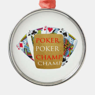 ART101  Poker Champ  - Art n Designer Text Silver-Colored Round Decoration