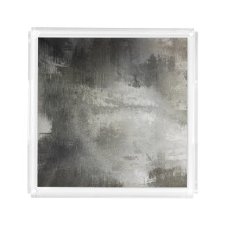 art abstract grunge black and white textured acrylic tray