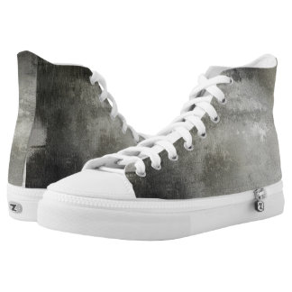 art abstract grunge black and white textured high tops