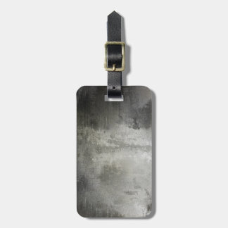art abstract grunge black and white textured luggage tag