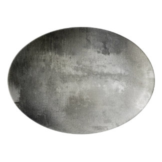art abstract grunge black and white textured porcelain serving platter