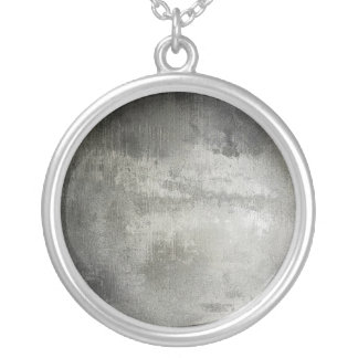 art abstract grunge black and white textured silver plated necklace