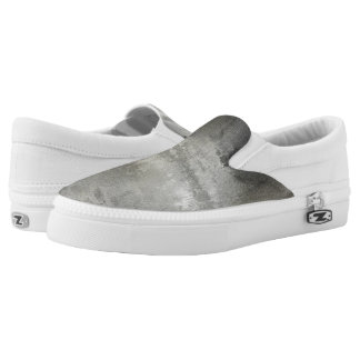 art abstract grunge black and white textured slip on shoes