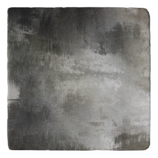 art abstract grunge black and white textured trivet