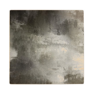 art abstract grunge black and white textured wood coaster