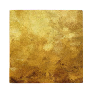 art abstract painted background in golden color wood coaster