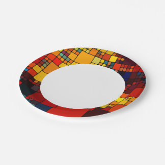 Art abstract vibrant rainbow geometric pattern paper plate