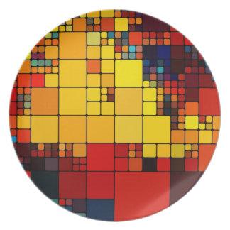 Art abstract vibrant rainbow geometric pattern plates