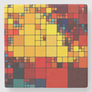 Art abstract vibrant rainbow geometric pattern stone coaster