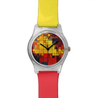 Art abstract vibrant rainbow geometric pattern watch