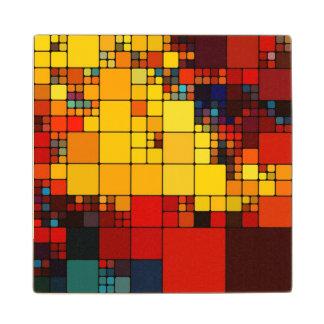 Art abstract vibrant rainbow geometric pattern wood coaster