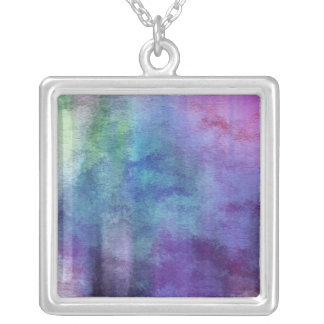 art abstract watercolor background on paper 2 silver plated necklace