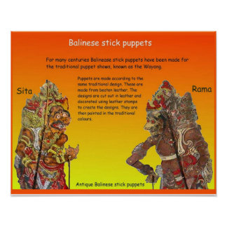 Art and design, Balinese Stick puppets Poster