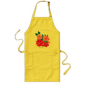 Art Apron: Tropical Hibiscus Flowers Long Apron