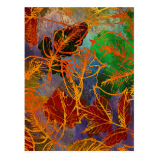 Art Autumn Leaves Background In Rainbow Colors Postcard