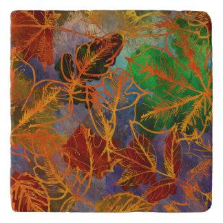 Art Autumn Leaves Background In Rainbow Colors Trivet