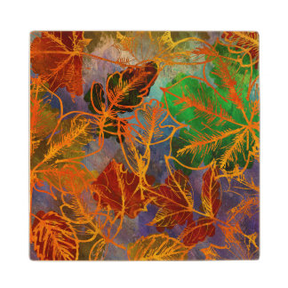 Art Autumn Leaves Background In Rainbow Colors Wood Coaster