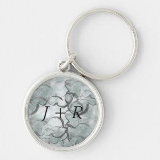 art avant-garde gray, black hand paint key ring