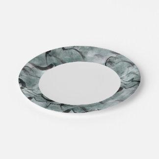 art avant-garde gray, black hand paint paper plate