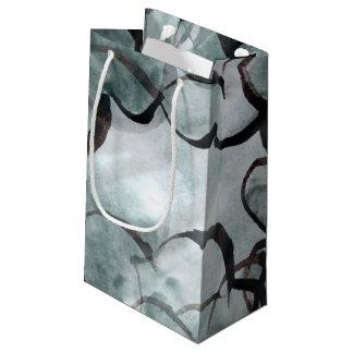 art avant-garde gray, black hand paint small gift bag