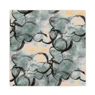art avant-garde gray, black hand paint wood coaster
