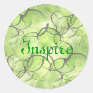 art avant-garde hand paint background green classic round sticker