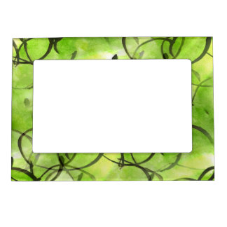 art avant-garde hand paint background green frame magnets