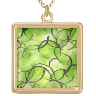 art avant-garde hand paint background green gold plated necklace