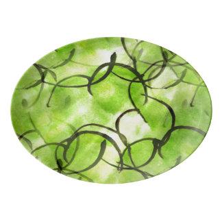 art avant-garde hand paint background green porcelain serving platter