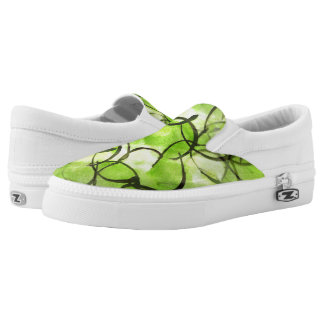 art avant-garde hand paint background green Slip-On shoes