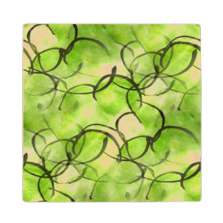art avant-garde hand paint background green wood coaster