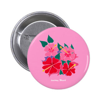 Art Badge Button: Hibiscus Pink