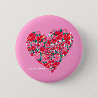 Art Badge Button: Hibiscus Pink Heart