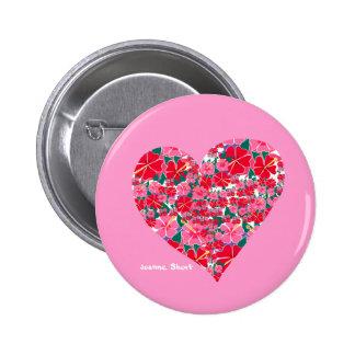 Art Badge Button: Hibiscus Pink Heart