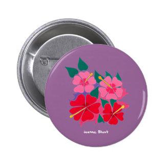 Art Badge Button: Hibiscus Purple
