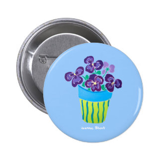 Art Badge Button: Pansies in a vase