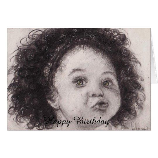 art birthday card little girl