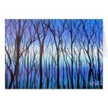 Art Blue Trees Greeting Card