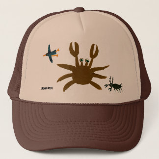 Art Cap: Crab,Bug,Bird. Brown Cap